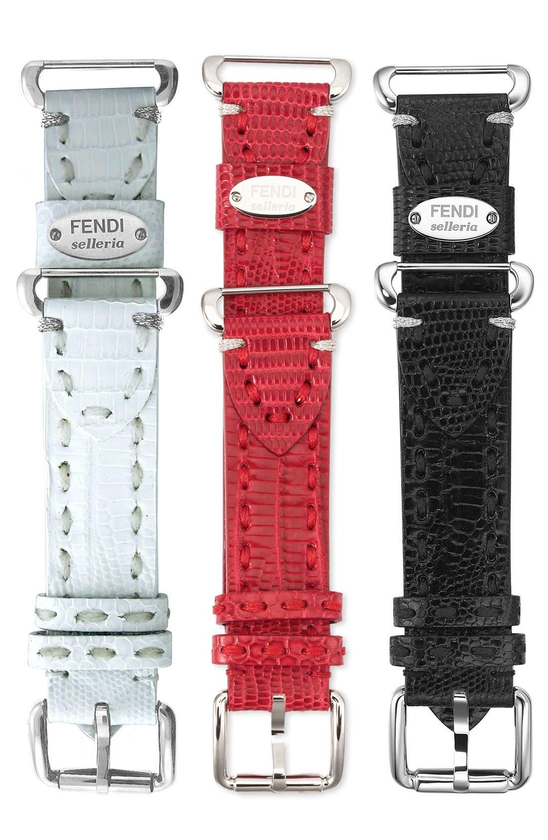 Alternate Image 2  - Fendi 'Selleria' 18mm Teju Lizardskin Watch Strap