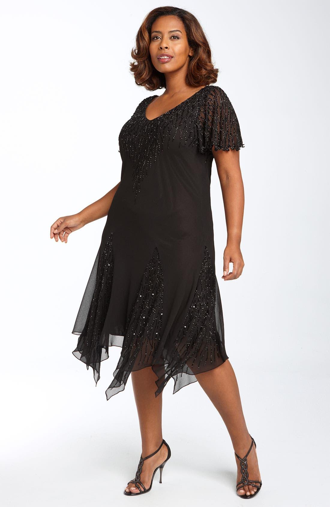 Main Image - J Kara Beaded Godet Dress (Plus Size)