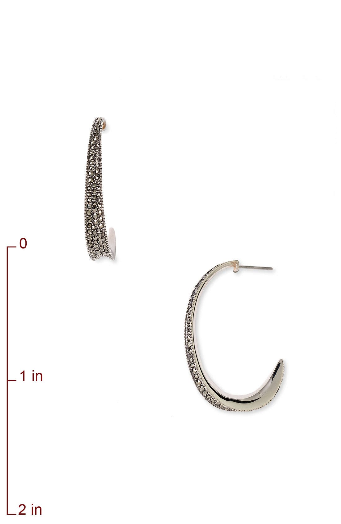Alternate Image 2  - Judith Jack Small Tapered Marcasite Hoop Earrings