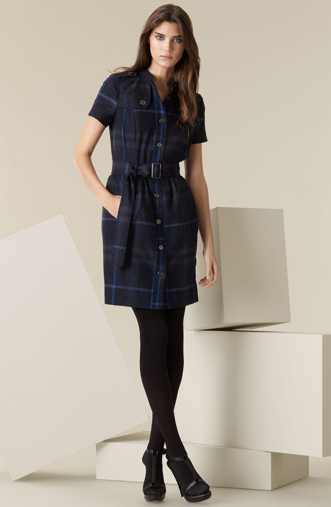 Main Image - Burberry Brit Back Zip Flannel Shirtdress