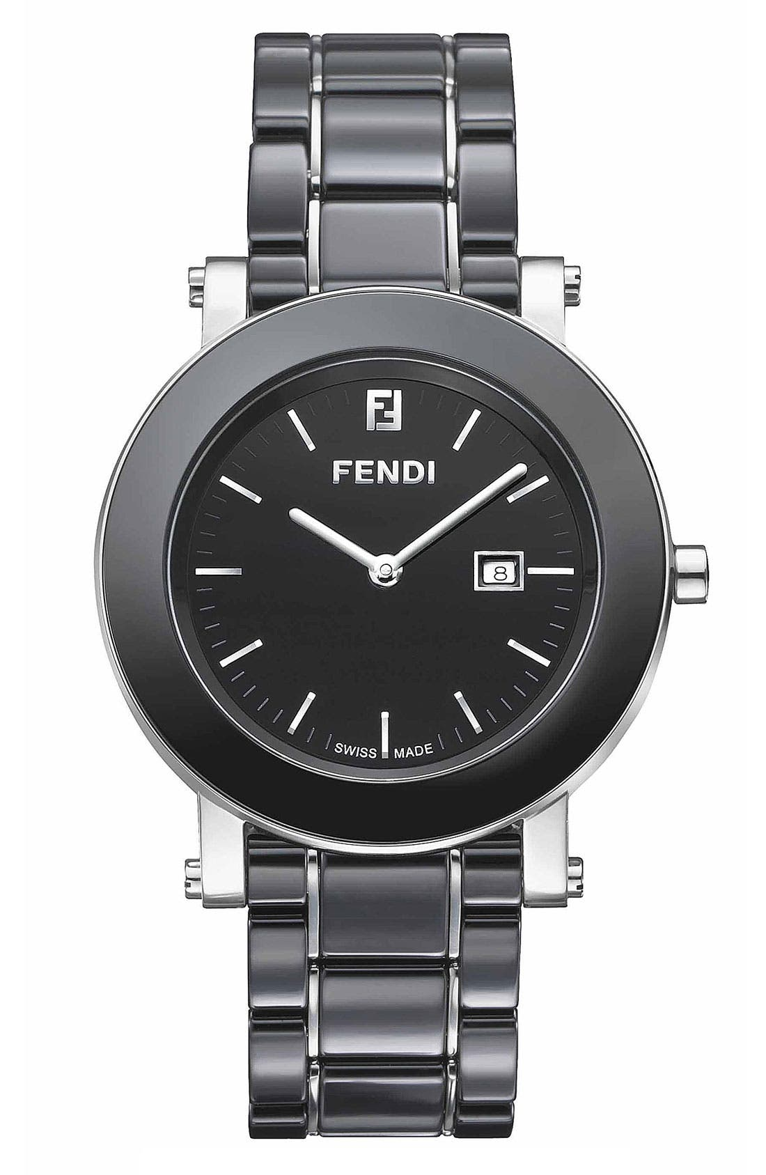 Alternate Image 1 Selected - Fendi Large Ceramic Round Case Watch, 38mm