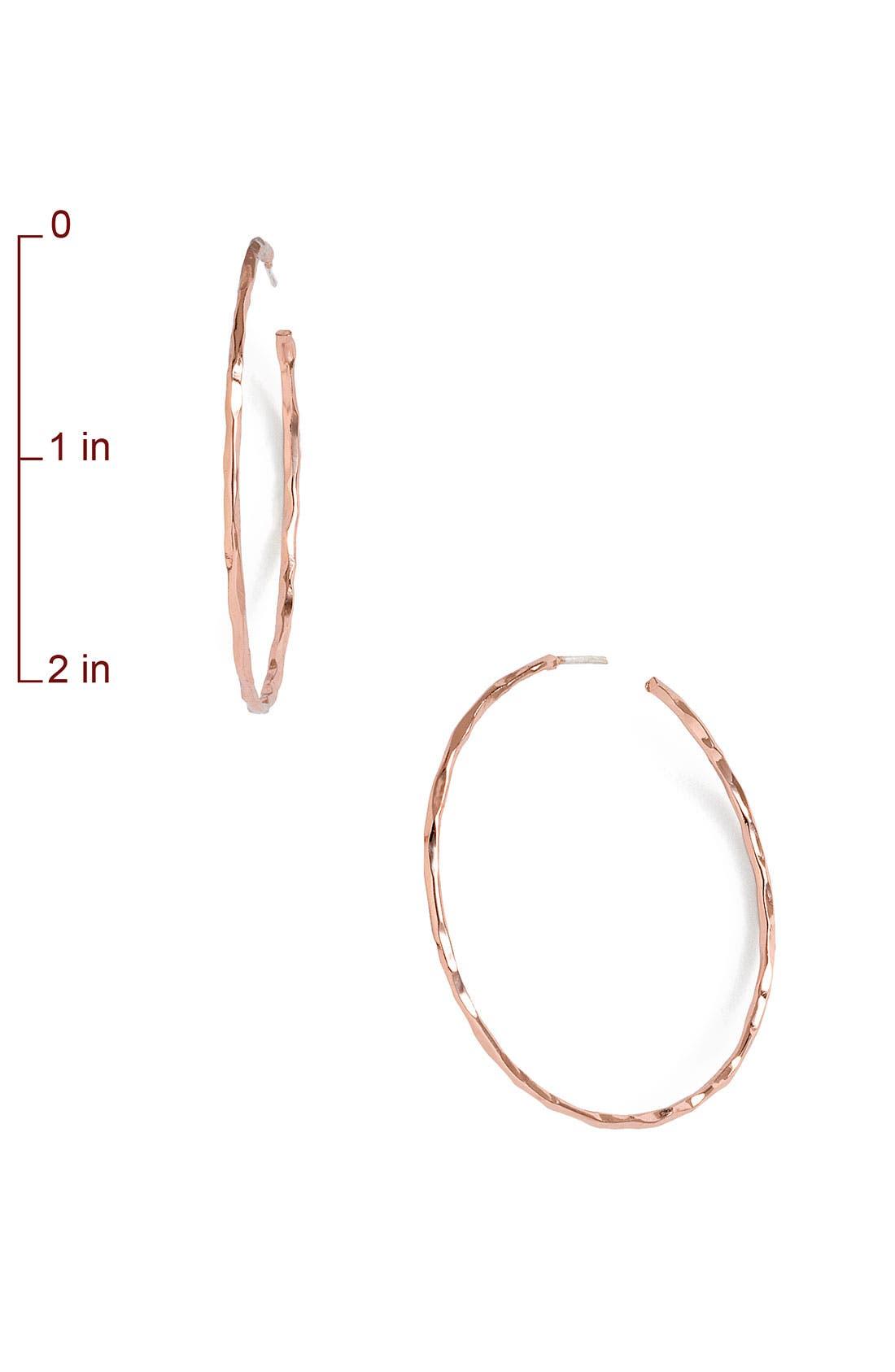Alternate Image 2  - Argento Vivo Medium Hammered Hoop Earrings