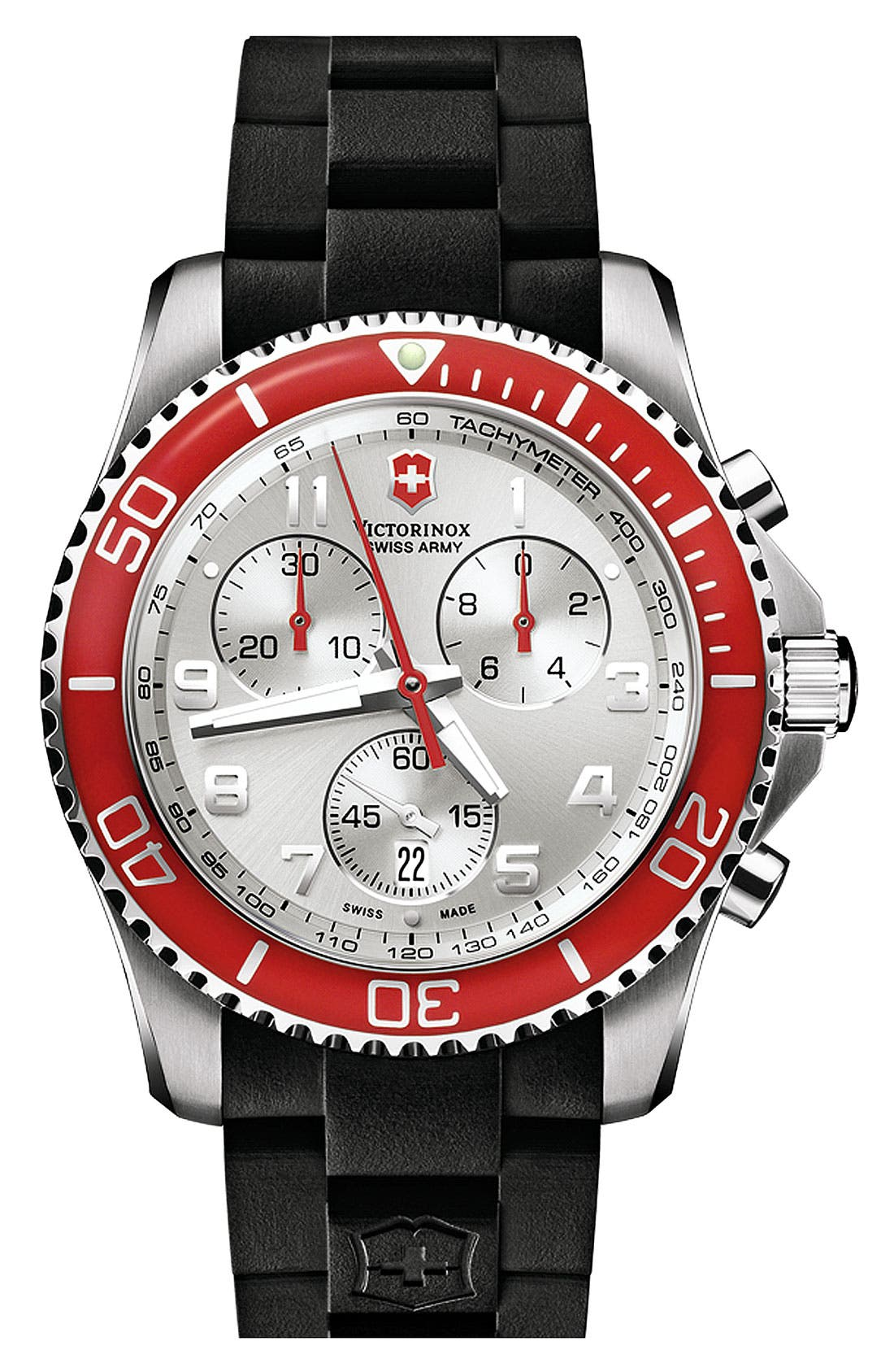 Main Image - Victorinox Swiss Army® 'Maverick GS' Rubber Strap Chronograph Watch, 43mm