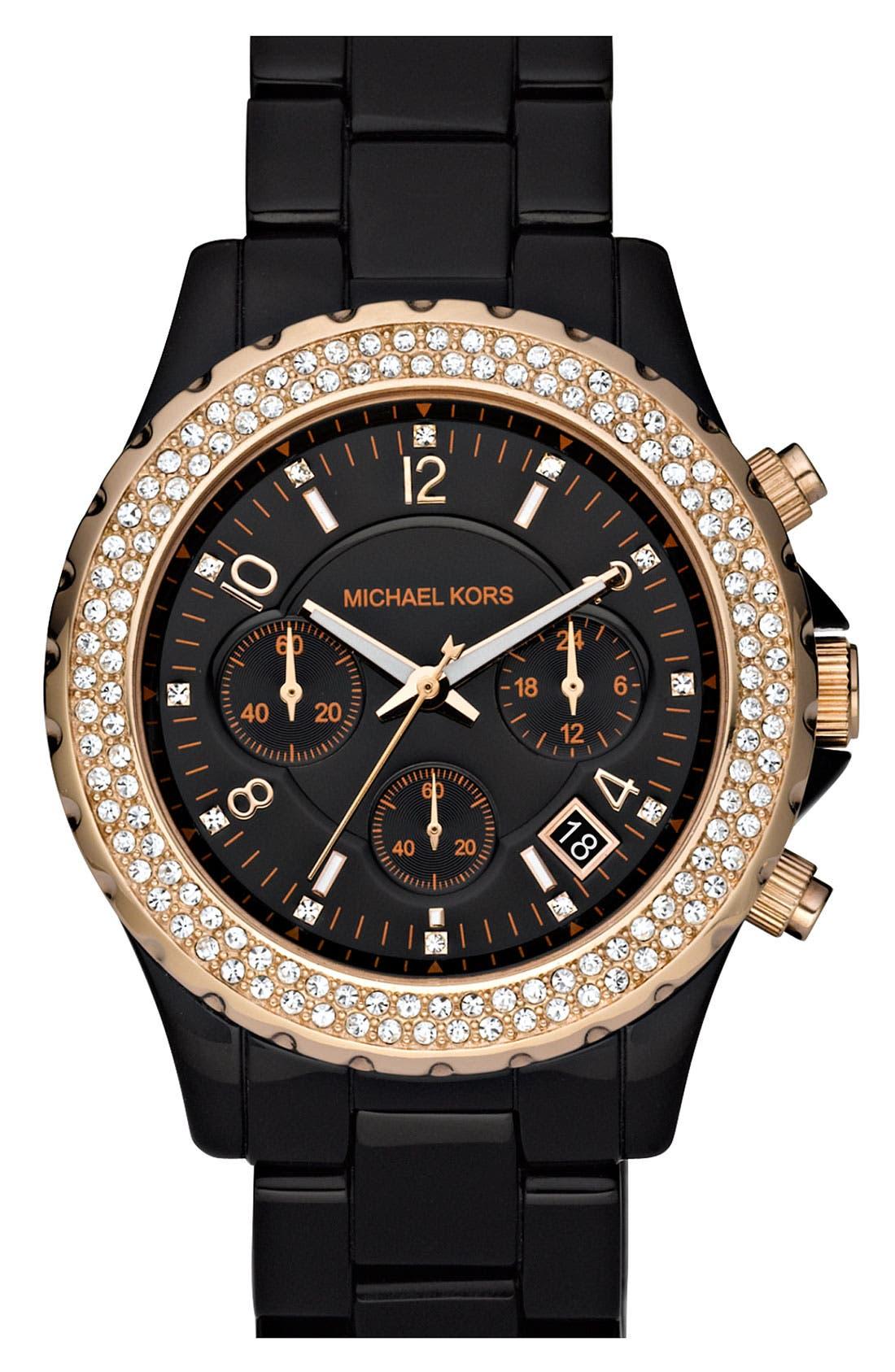 Alternate Image 1 Selected - Michael Kors 'Madison' Resin & Crystal Watch