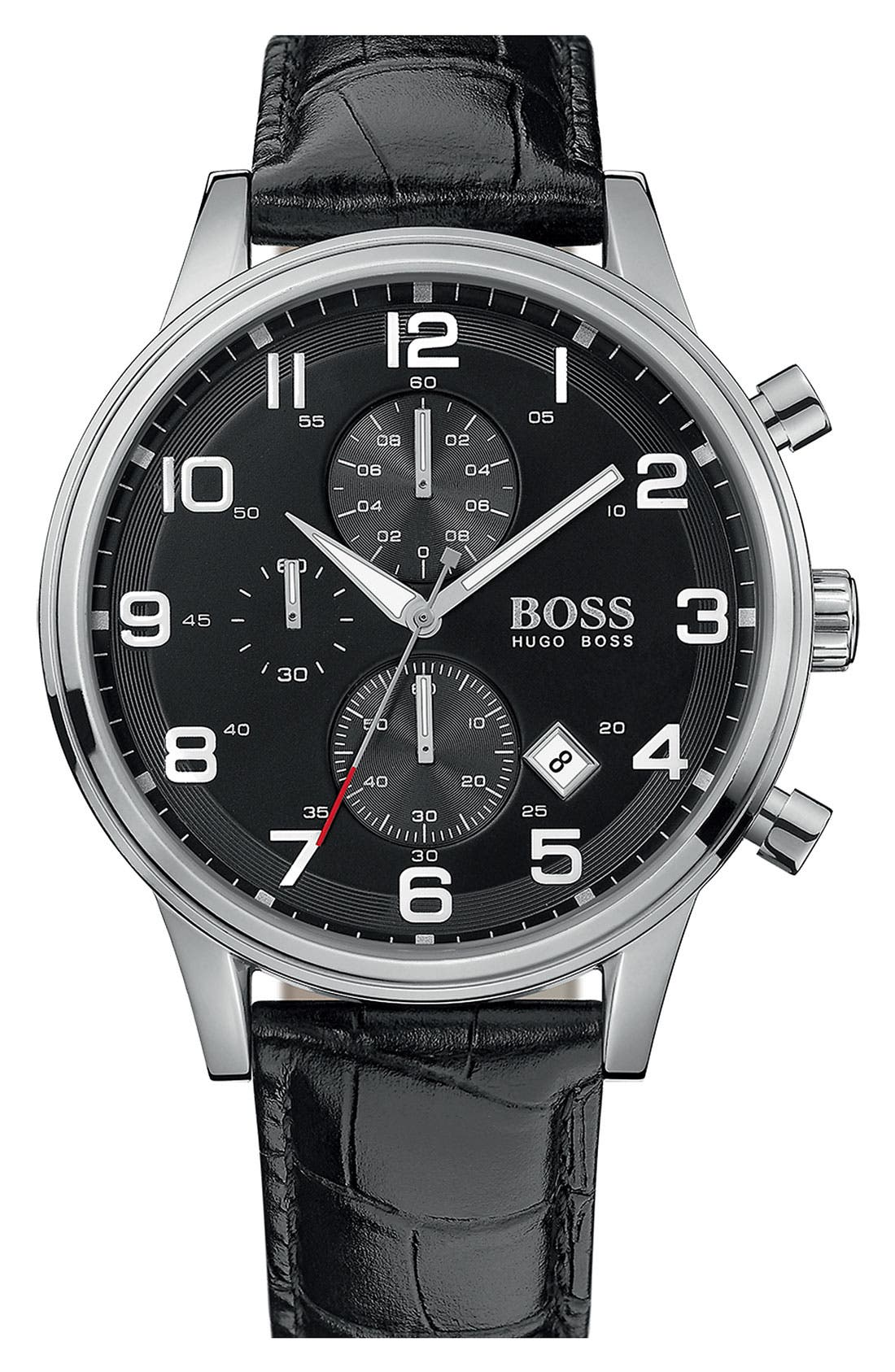 Main Image - BOSS Leather Strap Chronograph Watch, 44mm