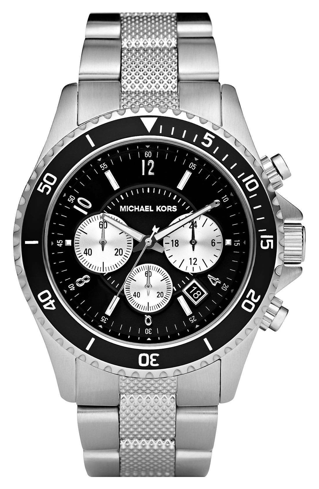 Alternate Image 1 Selected - Michael Kors Chronograph Knurled Bracelet Watch