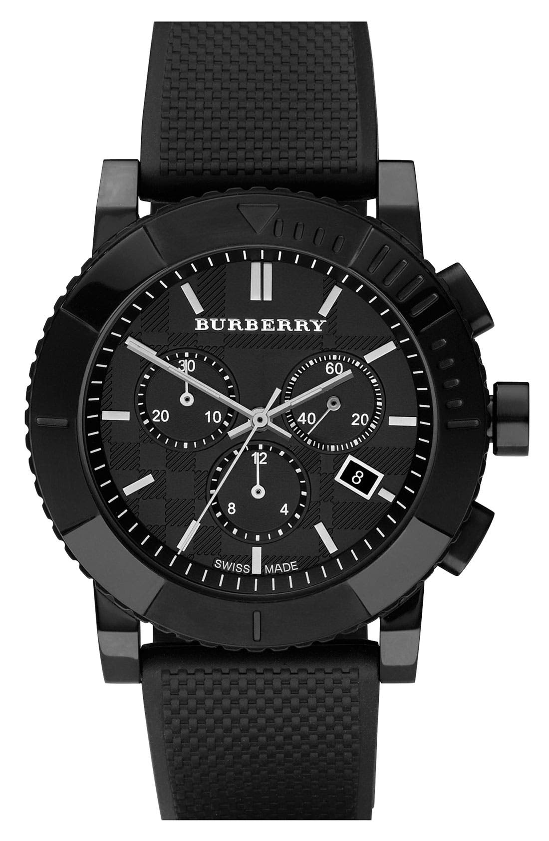 Main Image - Burberry Round Chronograph Rubber Strap Watch