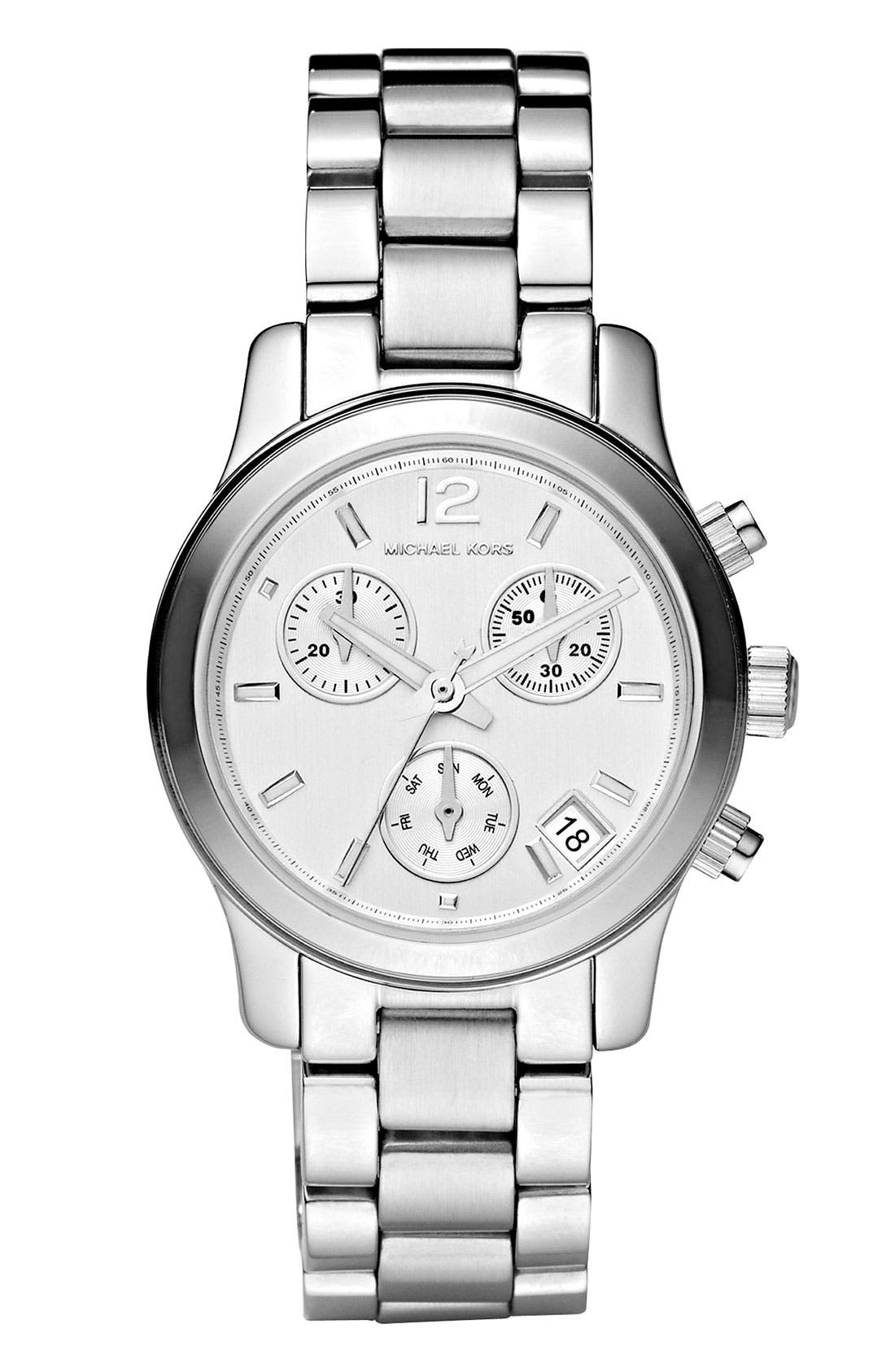 Alternate Image 1 Selected - Michael Kors 'Mini Runway' Chronograph Bracelet Watch, 33mm