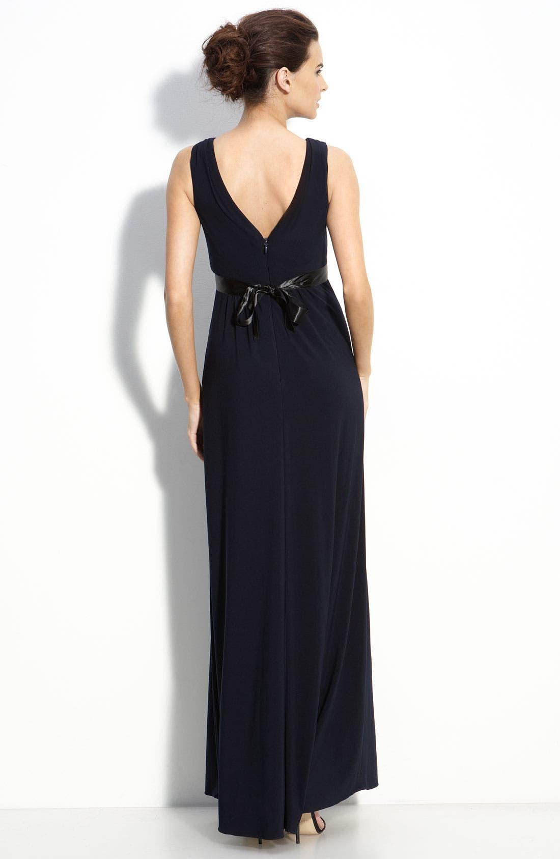 Alternate Image 2  - Amsale Empire Waist Jersey Dress
