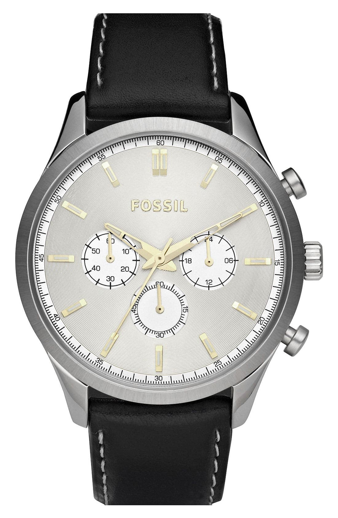 Main Image - Fossil Leather Strap Chronograph Watch