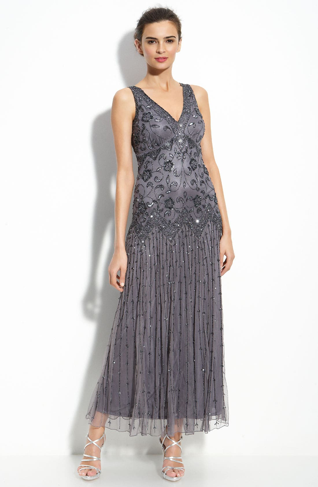 Main Image - Pisarro Nights Beaded Mesh Dress