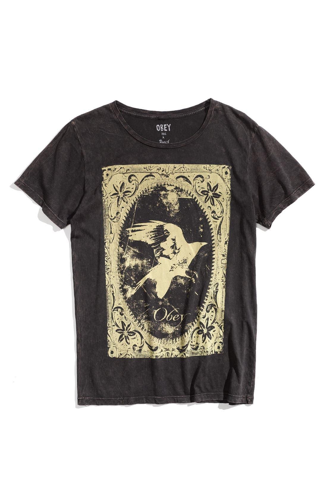 Main Image - Obey 'Black Crow' Trim Fit Crewneck T-Shirt (Men)