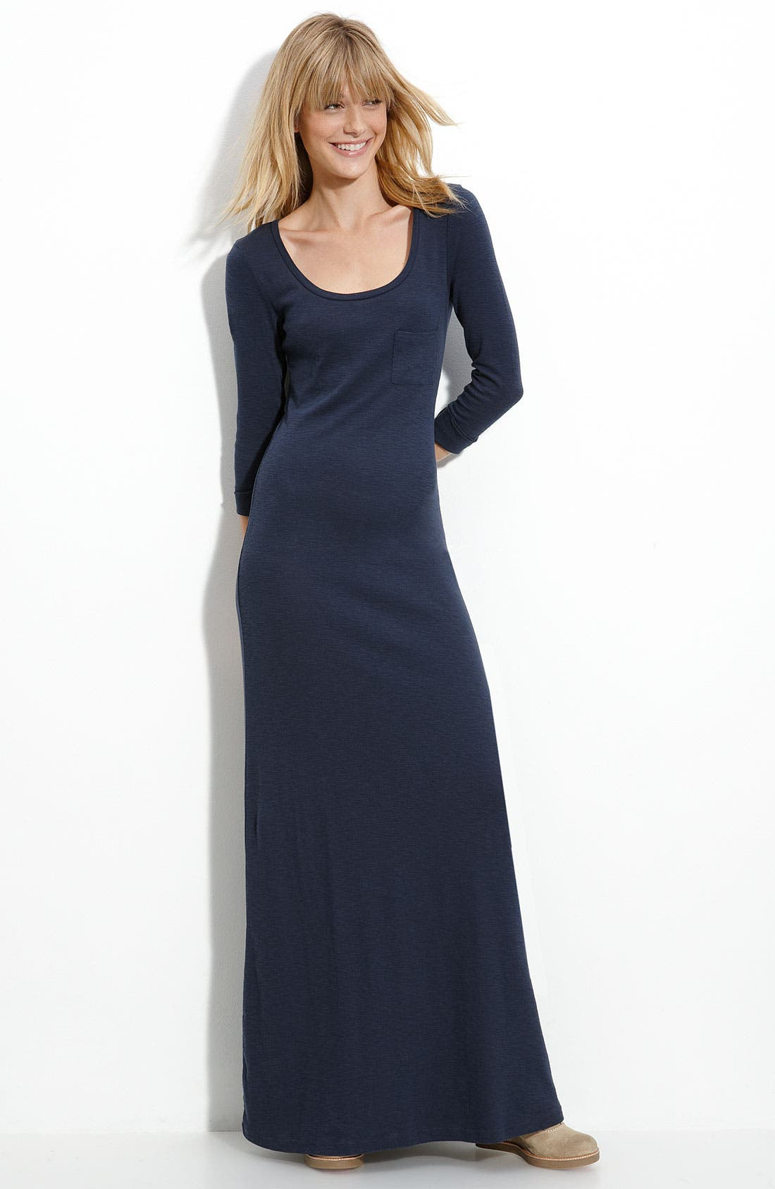 Main Image - Frenchi® Slub Knit Maxi Dress (Juniors)