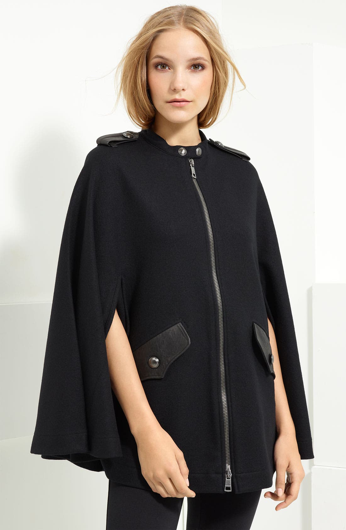 Alternate Image 1 Selected - Burberry Brit Leather Trim Wool Cape