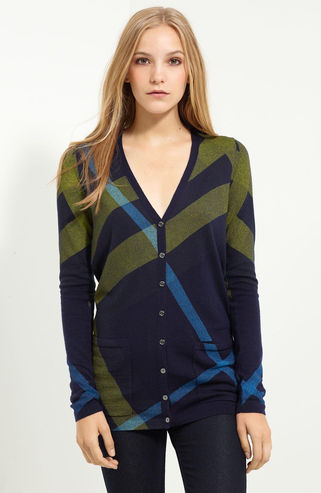 Main Image - Burberry Brit Check Pattern Cardigan