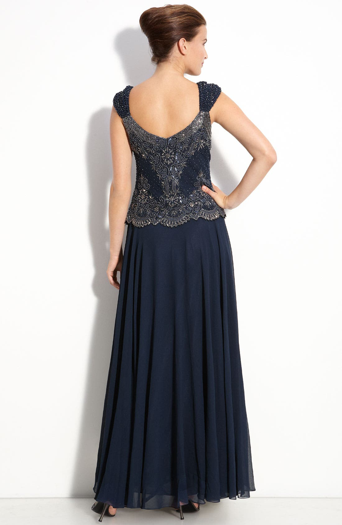 Alternate Image 2  - J Kara Beaded Mock Two-Piece Chiffon Gown