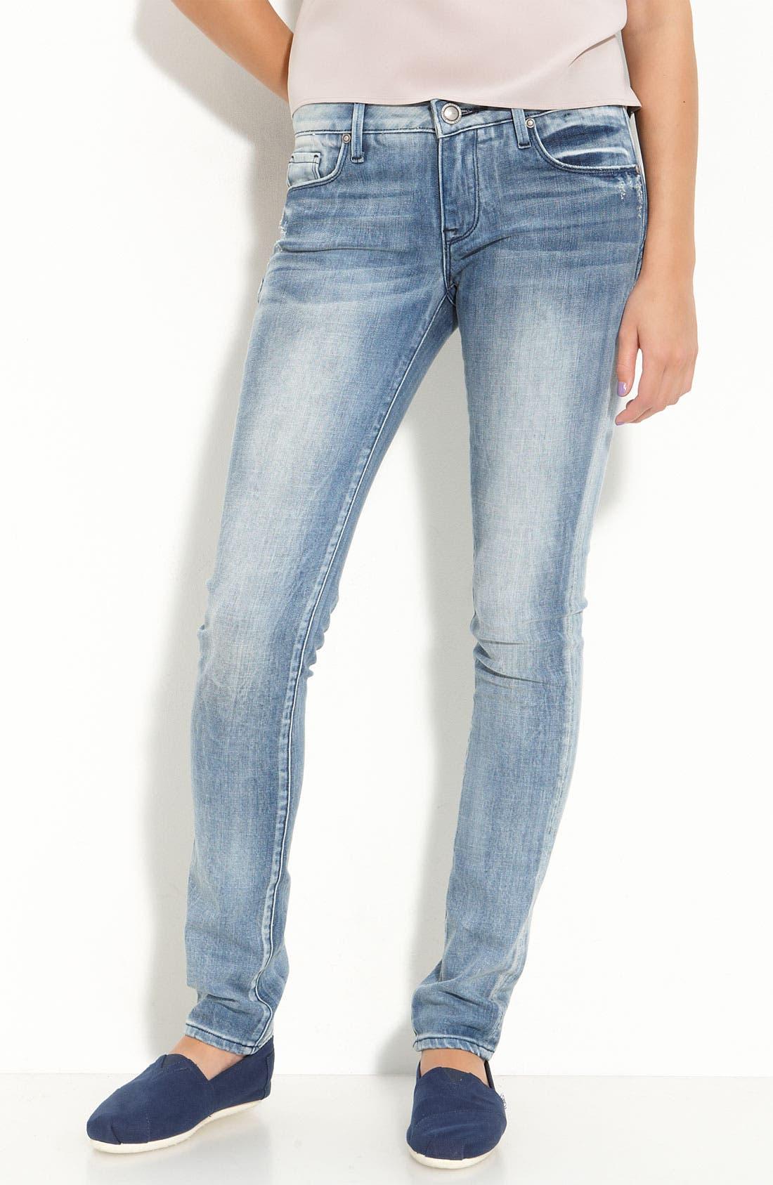 Alternate Image 2  - Vigoss '88' Stretch Denim Skinny Jeans (Light Wash) (Juniors)