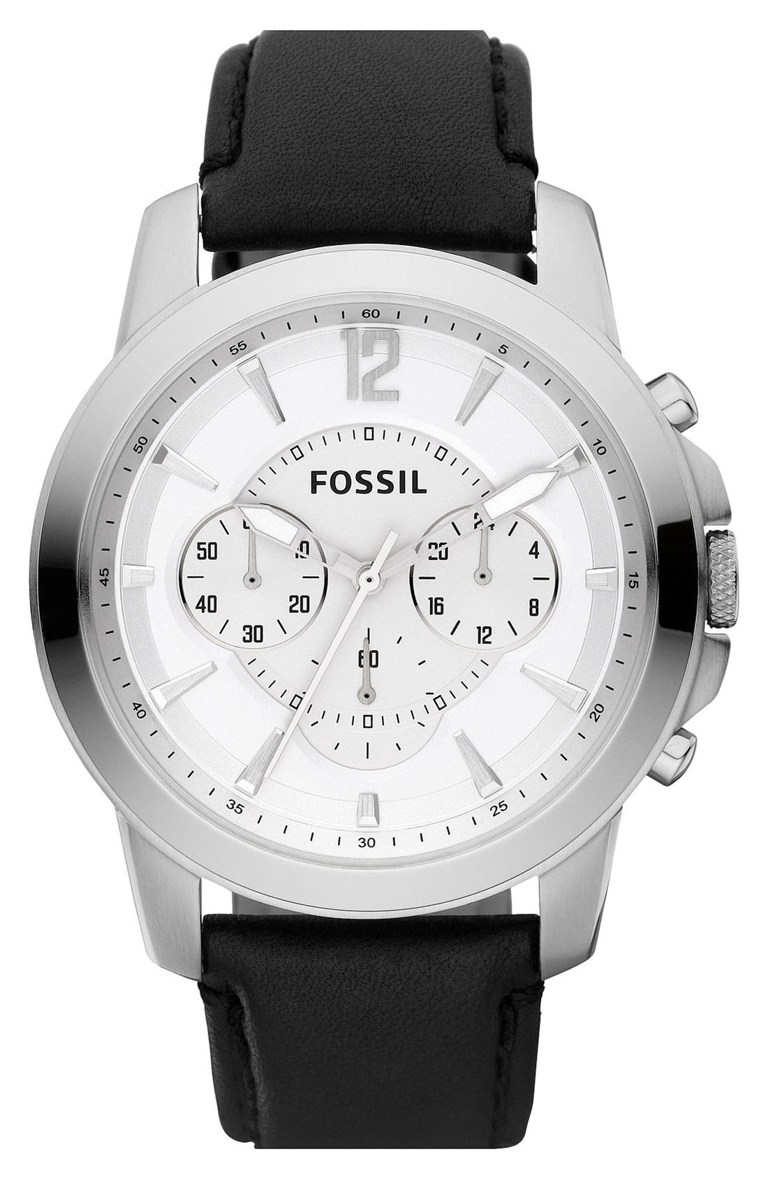 Alternate Image 1 Selected - Fossil 'Grant' Leather Strap Chronograph Watch