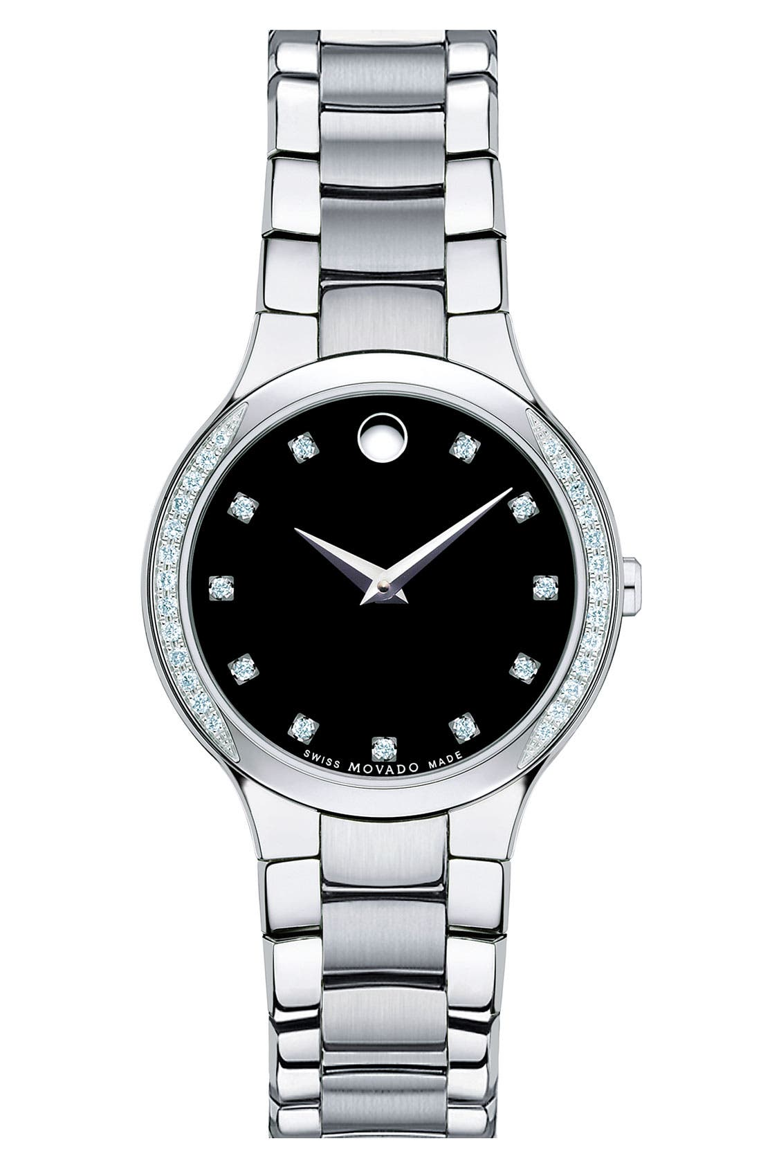 Main Image - Movado 'Serio' Ladies Diamond Bracelet Watch, 26mm