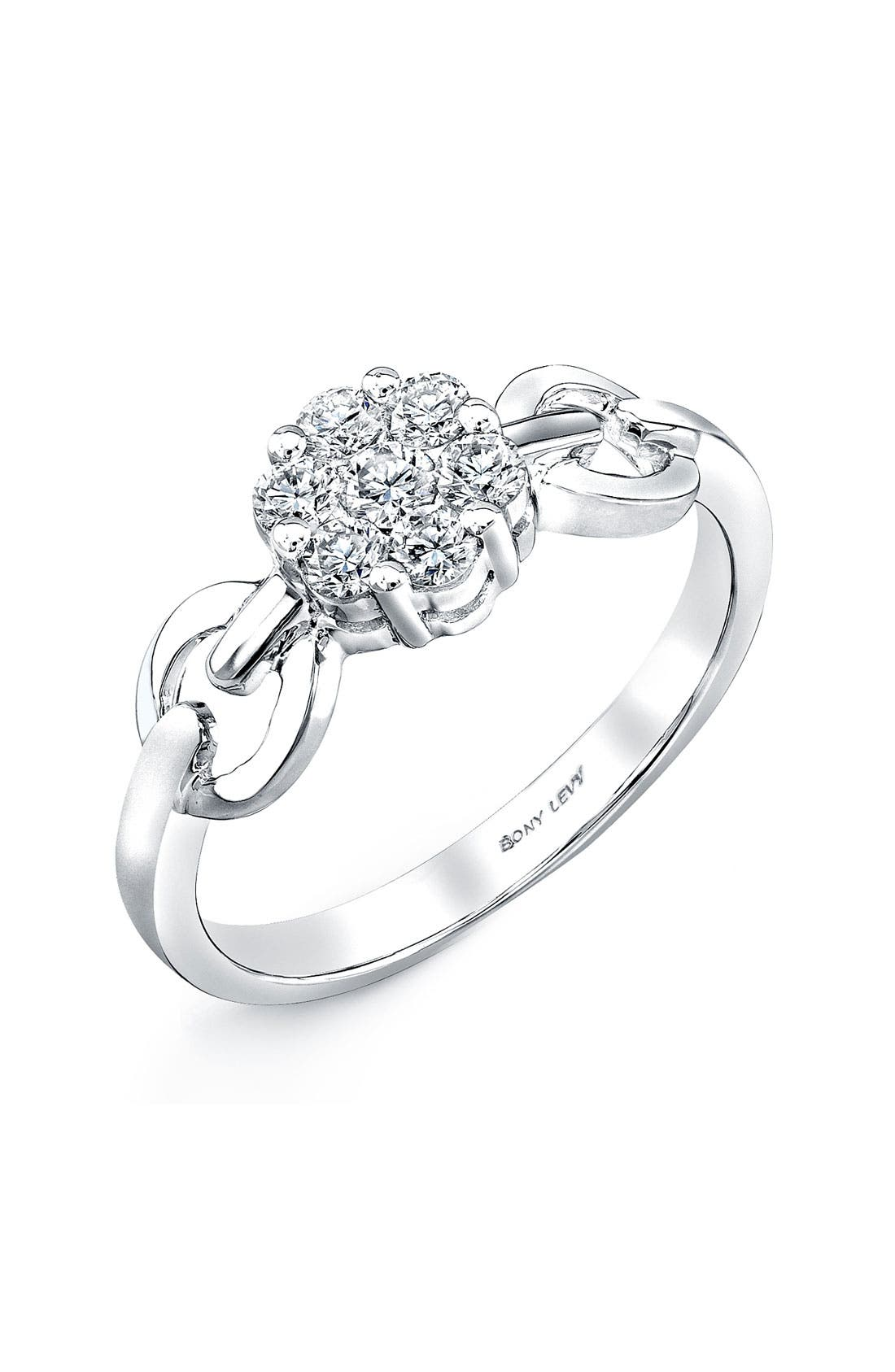 Main Image - Bony Levy Flower Diamond Link Ring (Nordstrom Exclusive)
