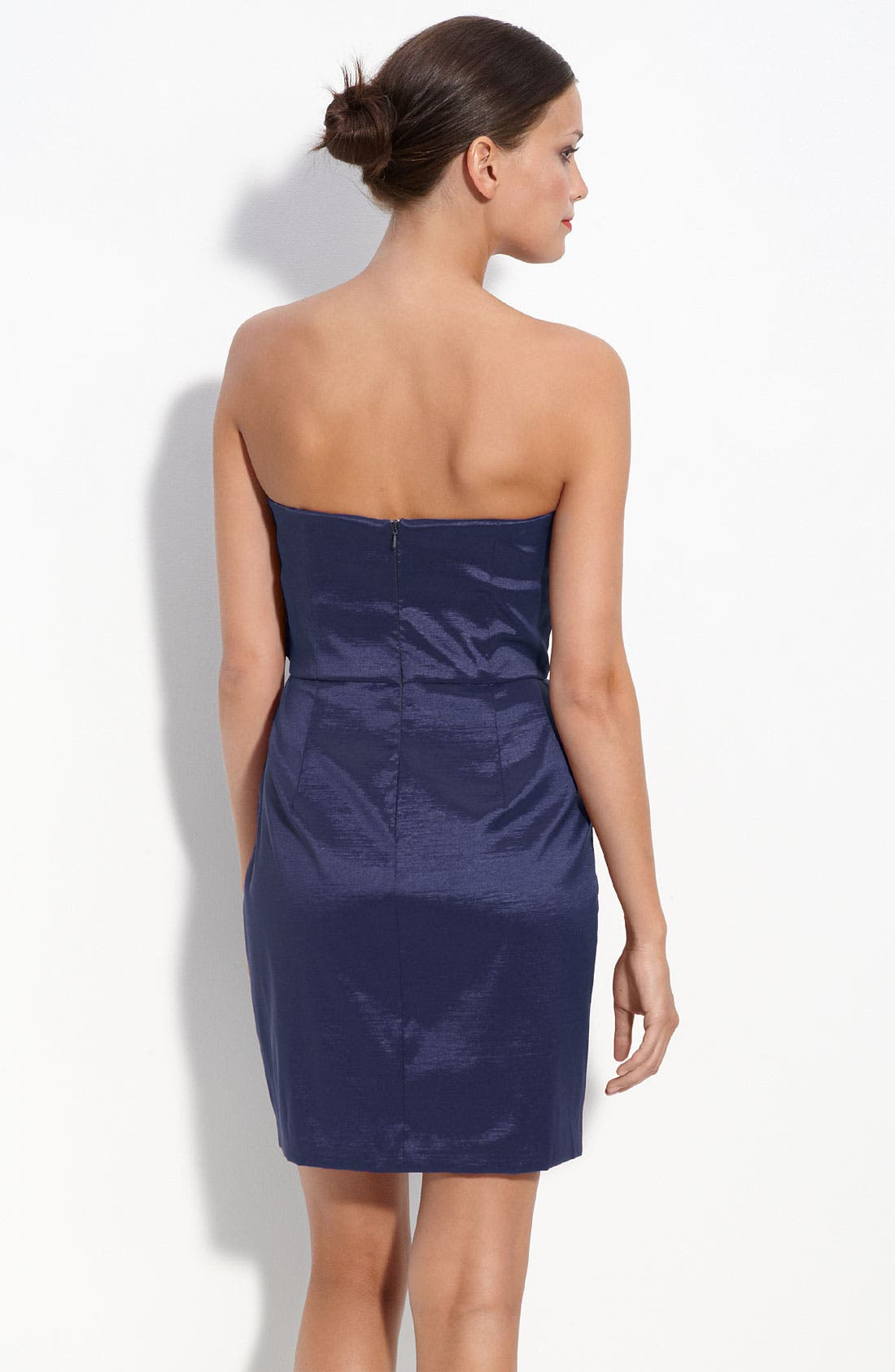 Alternate Image 2  - Max & Cleo Rosette Trim Strapless Taffeta Dress