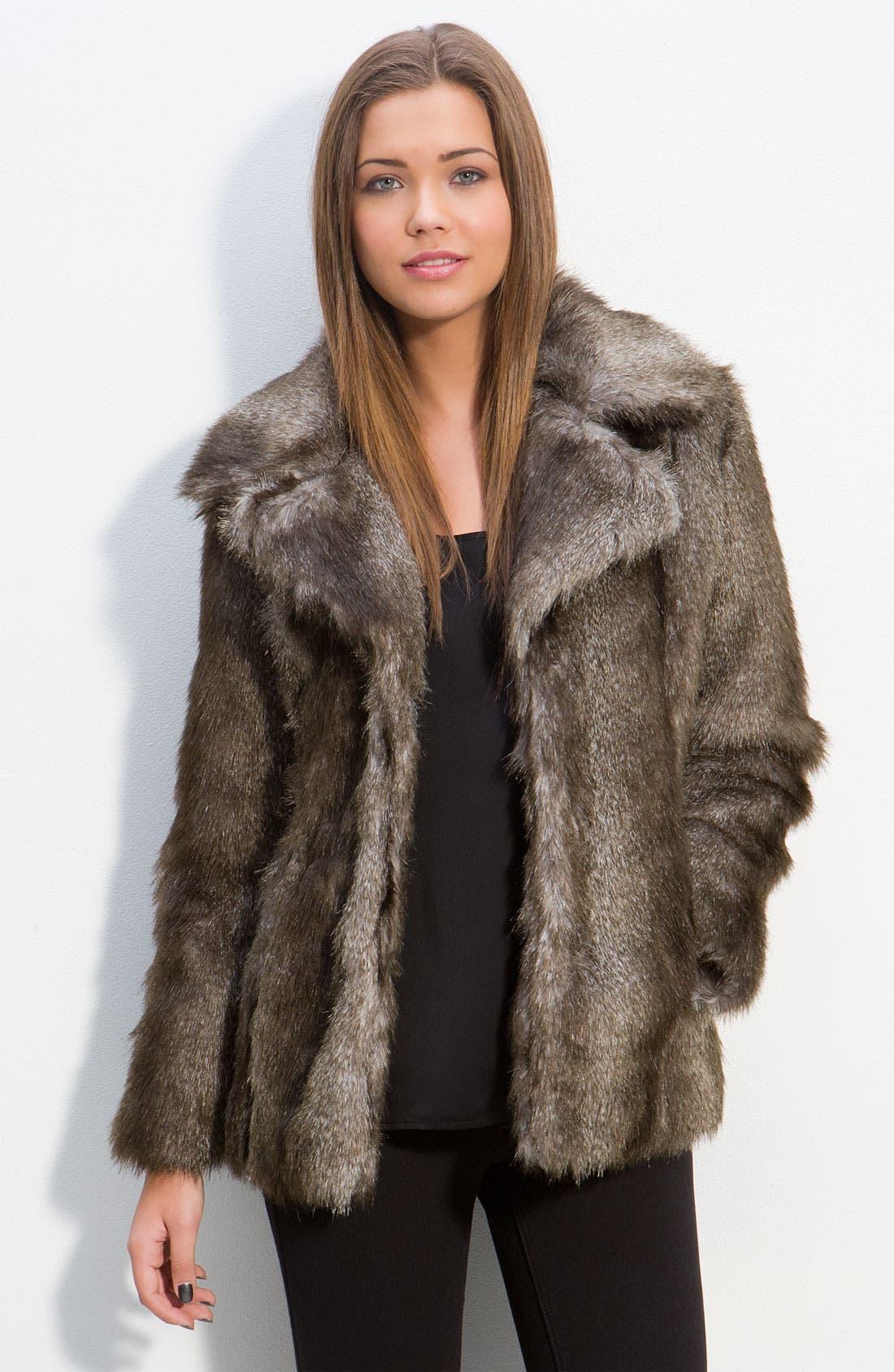 Alternate Image 1 Selected - Thread & Supply Faux Fur Jacket (Juniors)