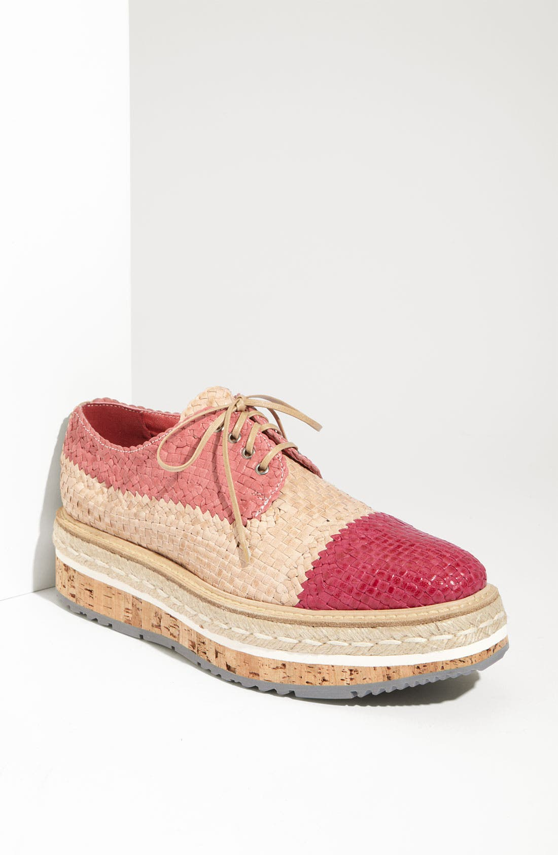 Main Image - Prada Woven Leather Platform Oxford