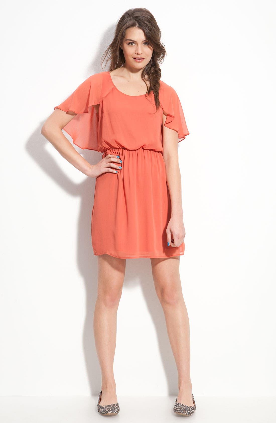 Alternate Image 3  - Lush Cape Sleeve Chiffon Dress (Juniors)