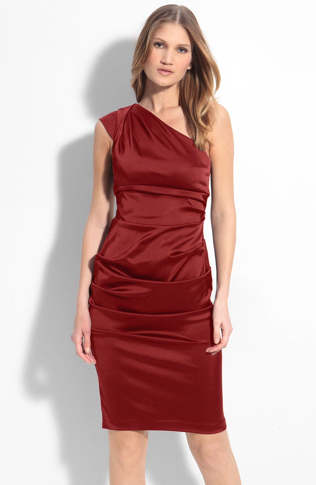 Alternate Image 1 Selected - Xscape Ruched Satin One Shoulder Sheath Dress