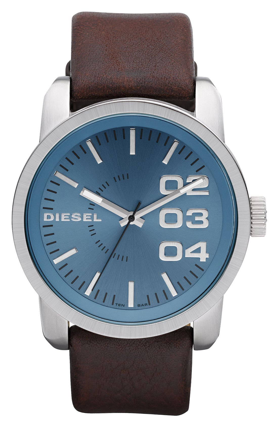 Alternate Image 1 Selected - DIESEL® 'Franchise' Leather Strap Watch, 46mm