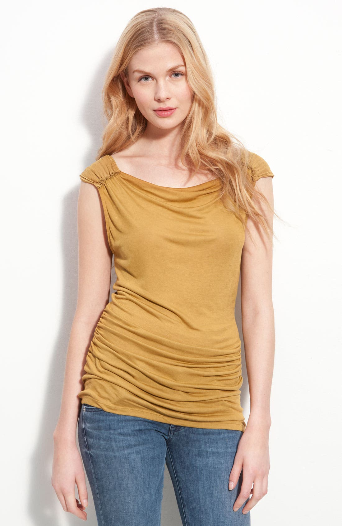 Alternate Image 1 Selected - T Tahari 'Ava' Ruched Sleeveless Top (Petite)