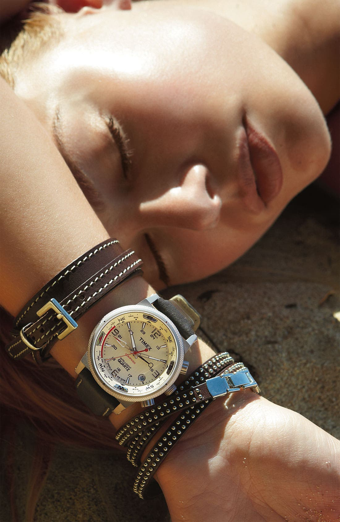 Alternate Image 2  - Timex® 'Intelligent Quartz' Leather Strap Compass Watch