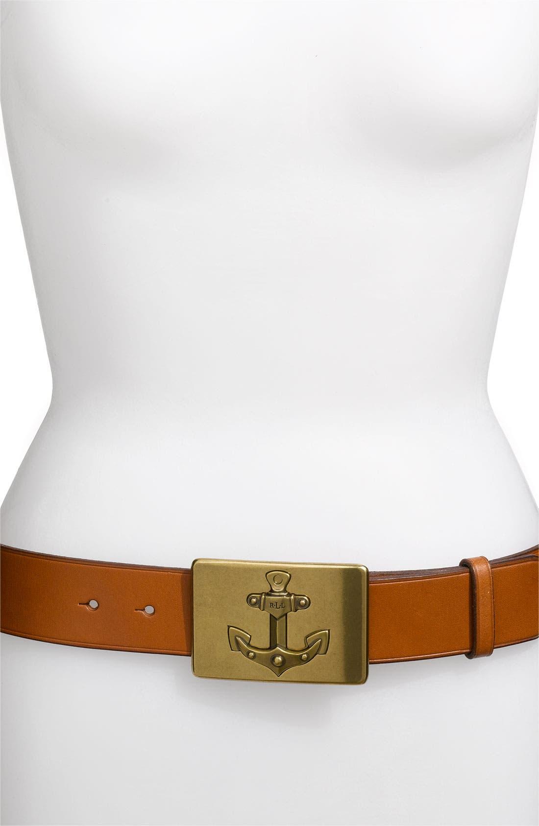 Alternate Image 1 Selected - Lauren by Ralph Anchor Buckle Belt