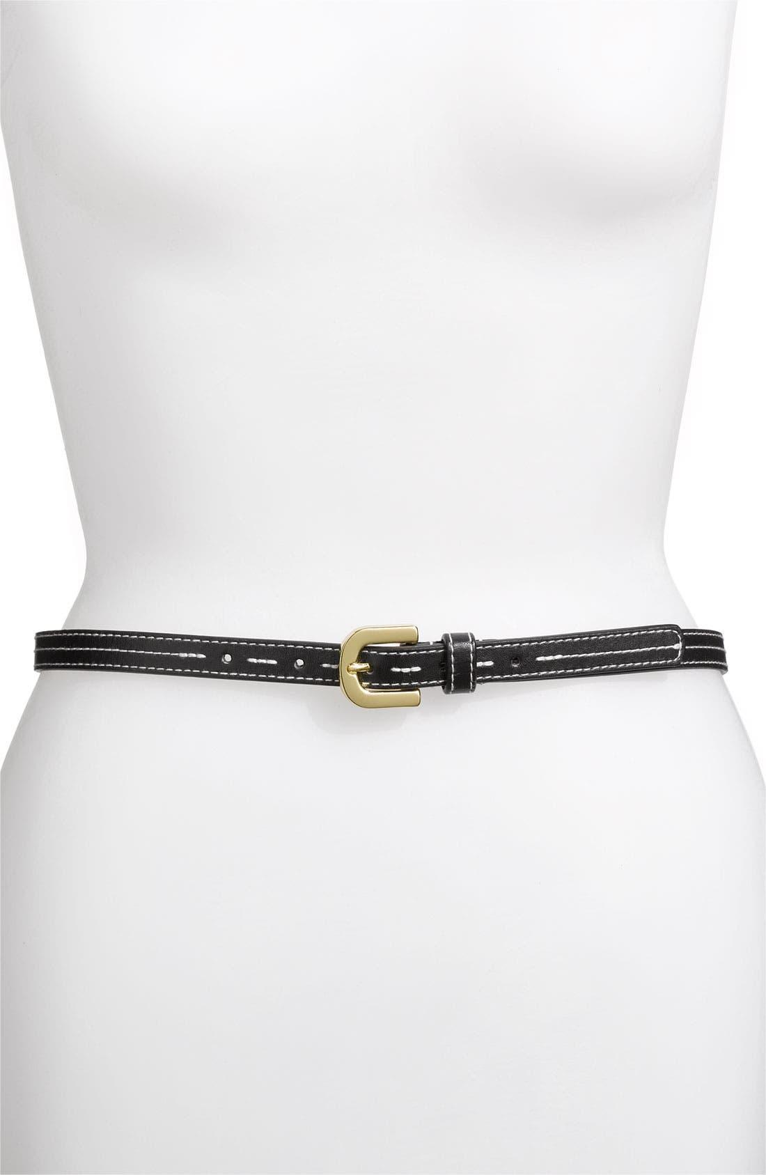 Alternate Image 1 Selected - Via Spiga 'Natural Stitch' Skinny Belt