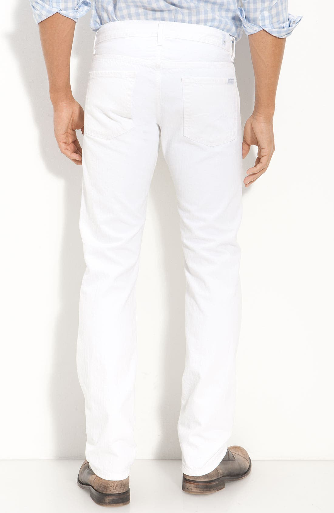 Alternate Image 2  - 7 For All Mankind® 'Slimmy' Slim Straight Leg Jeans (Clean White Wash)