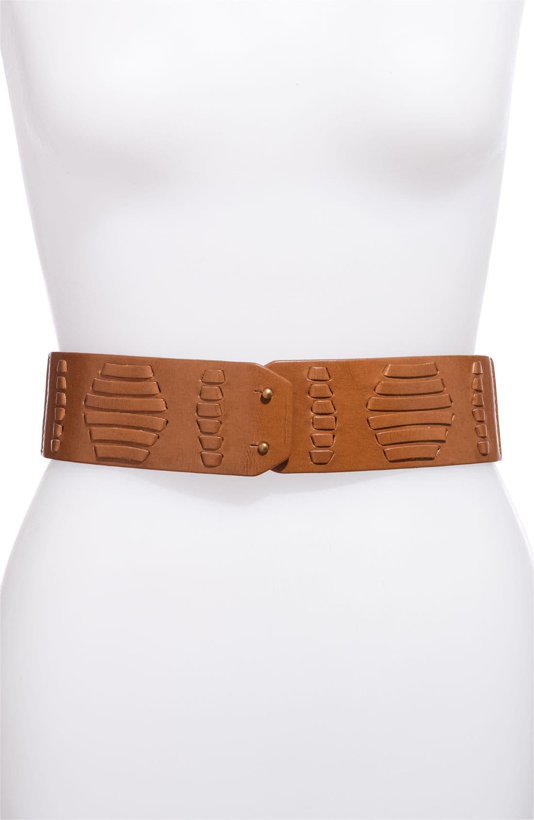 Main Image - Lulu Woven Faux Leather Stretch Waist Belt