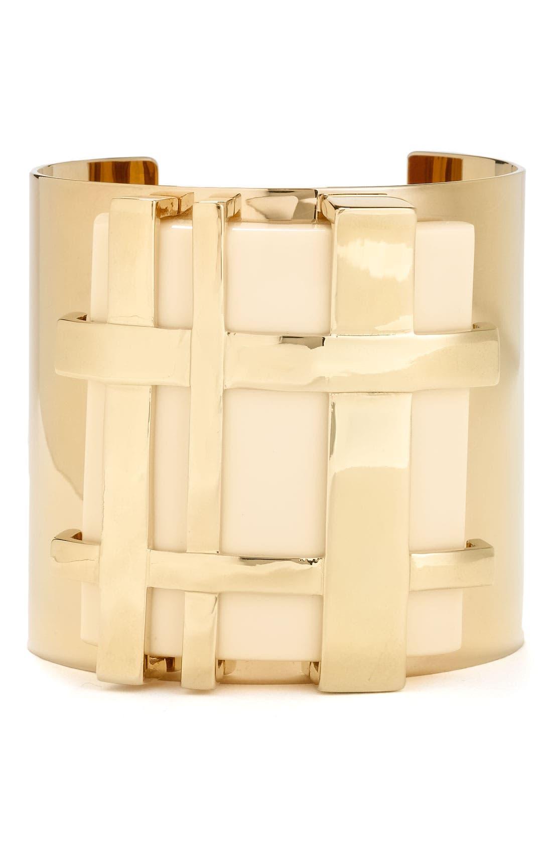 Alternate Image 1 Selected - Tory Burch 'Gingham' Cuff Bracelet