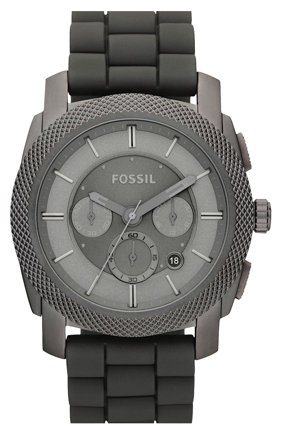 Alternate Image 1 Selected - Fossil 'Machine' Chronograph Watch with Silicone Strap, 45mm