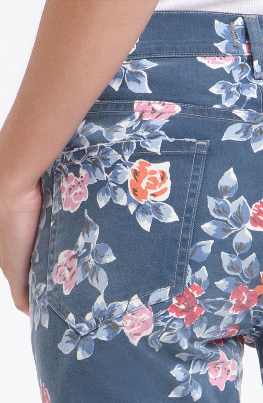 Alternate Image 3  - Citizens of Humanity 'Mandy' High Waist Slim Leg Floral Print Jeans (Navy Petite Rose)