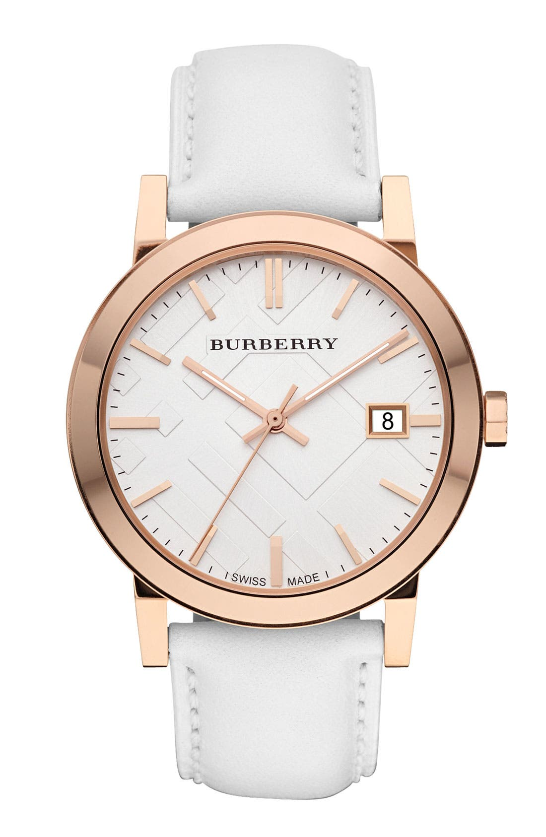Main Image - Burberry Check Stamped Round Dial Watch, 34mm