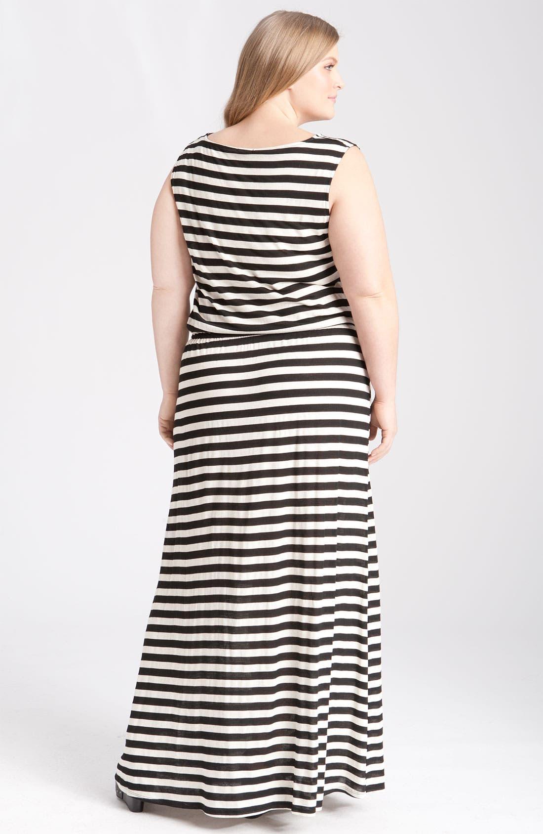 Alternate Image 2  - Gibson Stripe Knit Maxi Dress (Plus)