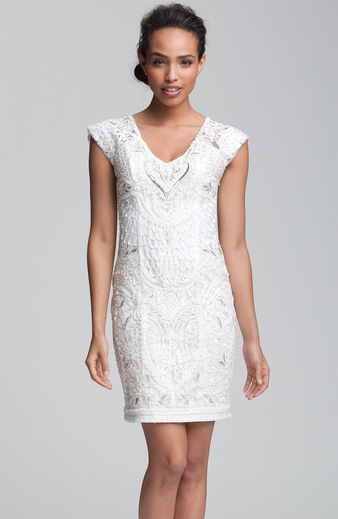 Alternate Image 1 Selected - Sue Wong Embellished V-Neck Sheath Dress