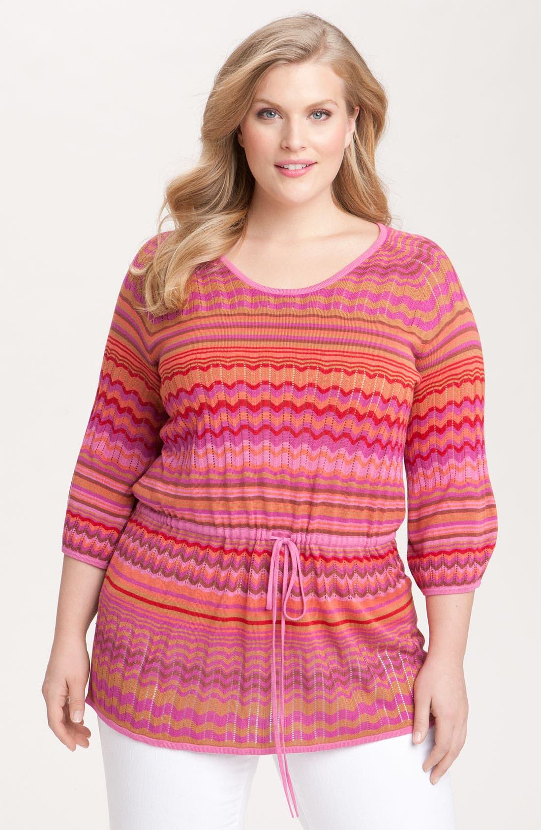Main Image - Sejour Stripe Tunic Sweater (Plus)