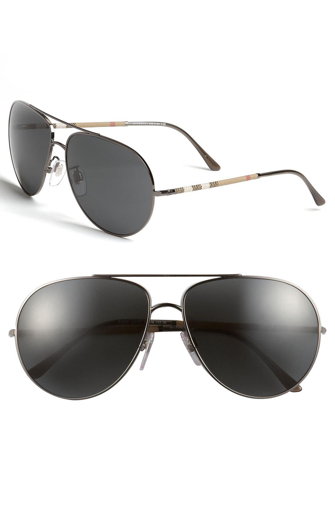 Alternate Image 1 Selected - Burberry Check Temple Aviator Sunglasses