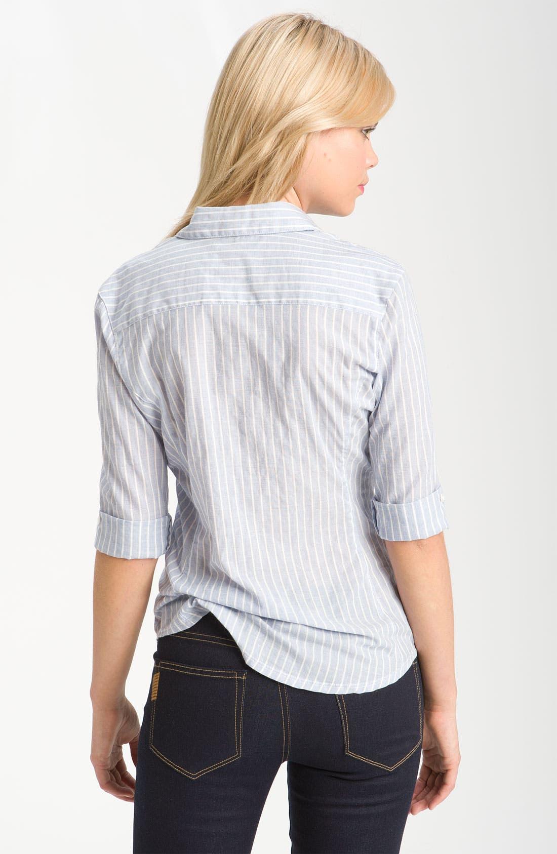 Alternate Image 2  - James Perse Jersey Inset Half Sleeve Stripe Shirt