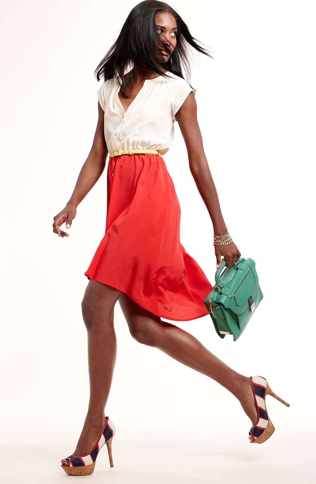 Alternate Image 4  - Presley Skye Belted Colorblock Silk Dress