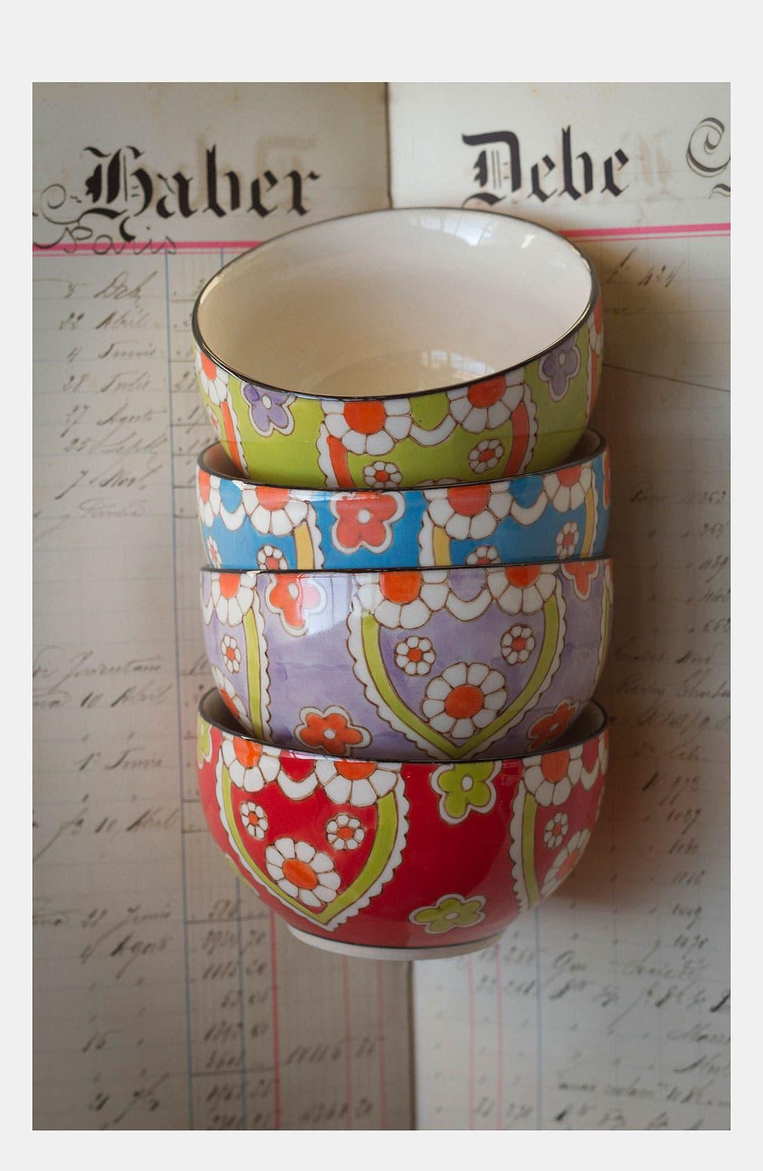 Alternate Image 2  - Hand-Painted 'Lotus' Bowls (Set of 4)
