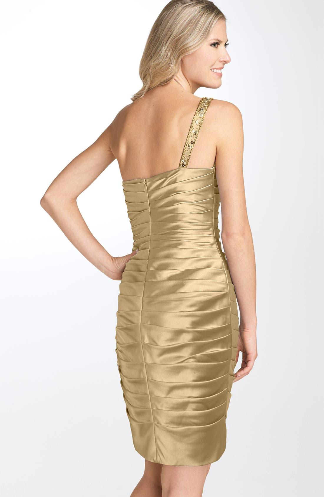 Alternate Image 2  - Adrianna Papell One Shoulder Ruched Satin Dress