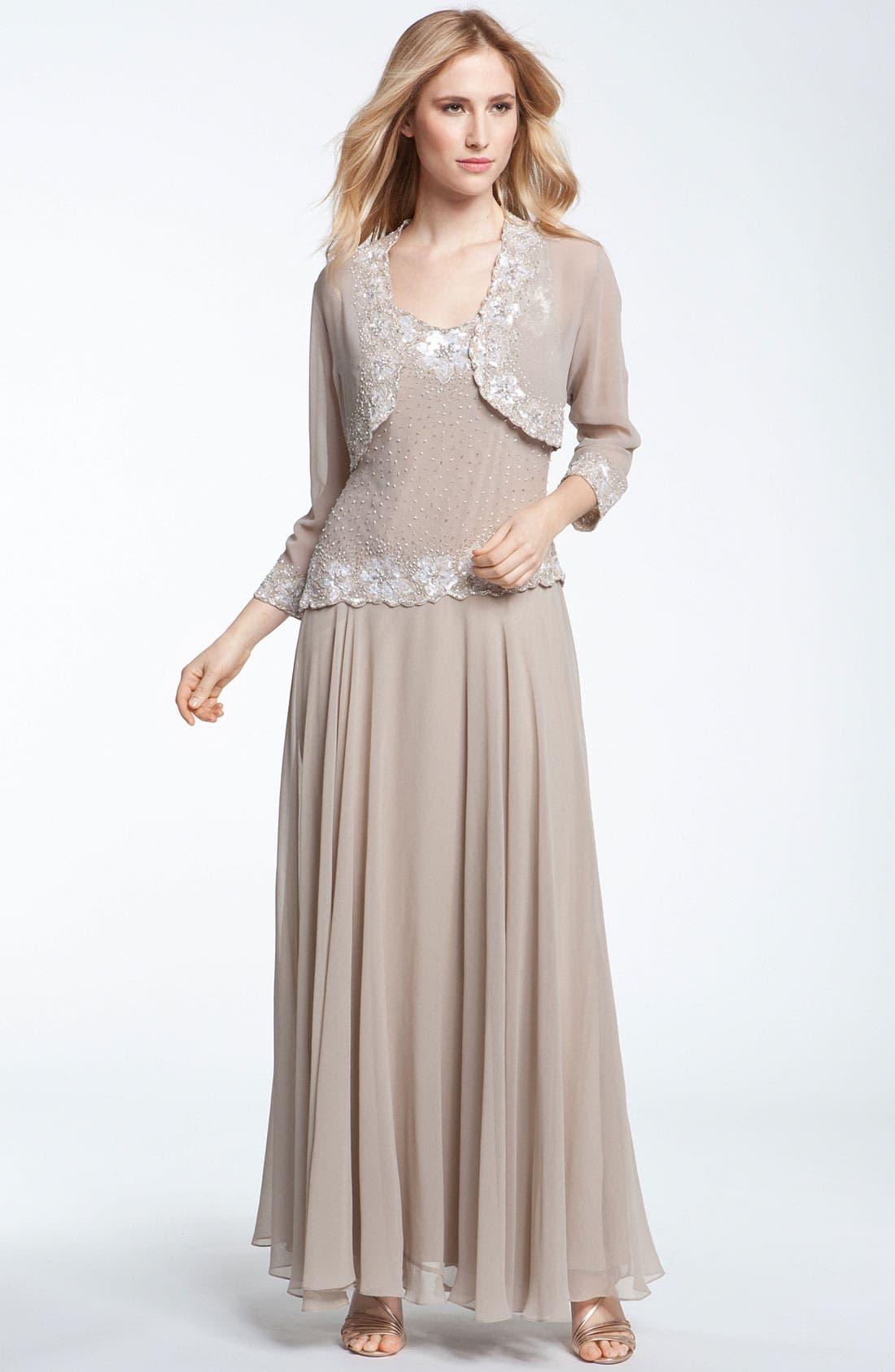 Alternate Image 1 Selected - J Kara Beaded Dress & Bolero