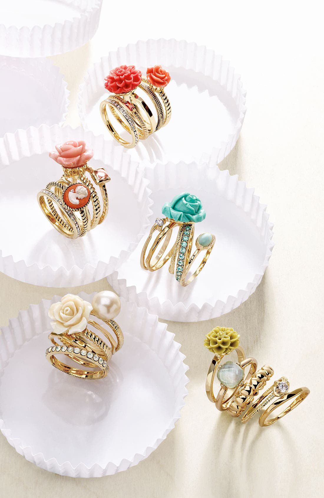 Alternate Image 2  - Ariella Collection Floral & Cameo Stack Rings (Set of 5) (Nordstrom Exclusive)